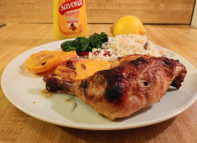 Lemon mustard chicken is a traditional Argentine dish that is perfect for baked chicken leg quarters.